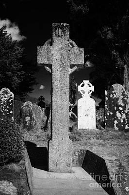 St Kevins High Cross Celtic Grave Stone In Cemetary Graveyard Glendalough Monastic Site Poster by Joe Fox