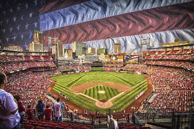 St Louis Cardinals Busch Stadium National Anthem Paint Poster