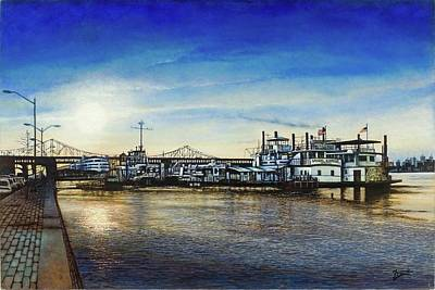 Poster featuring the painting St. Louis Riverfront by Michael Frank