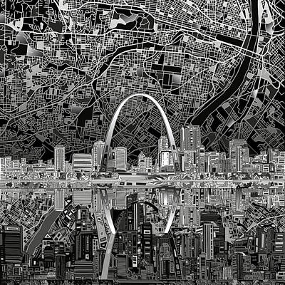 St Louis Skyline Abstract 2 Poster