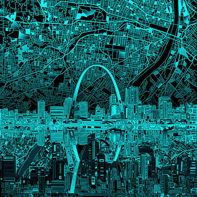 St Louis Skyline Abstract 4 Poster
