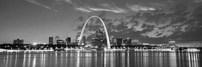 Poster featuring the photograph St. Louis Skyline At Dusk Gateway Arch Black And White Bw Panorama Missouri by Jon Holiday
