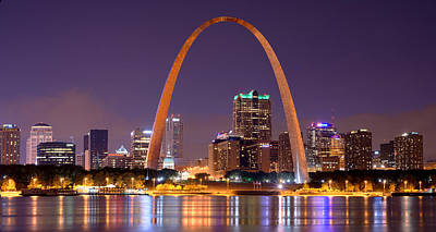 St. Louis Skyline At Night Gateway Arch Color Panorama Missouri Poster by Jon Holiday