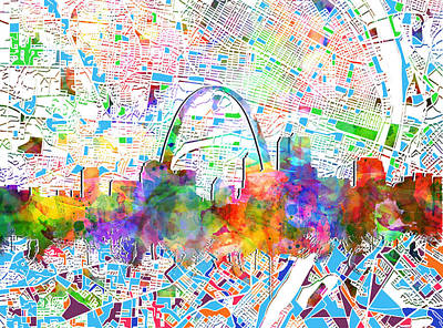 St Louis Skyline Watercolor 5 Poster