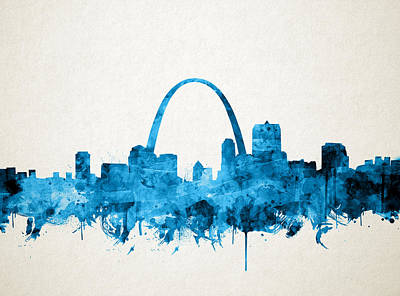 St Louis Skyline Watercolor Poster