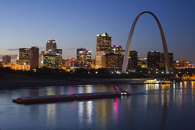 St Louis Skyline With Barges Poster by Garry McMichael