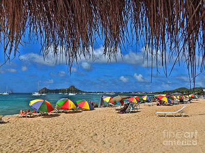St. Lucia Beach Scene Poster by Joan  Minchak