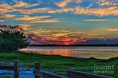 St Lucie River Sunset Poster by Olga Hamilton
