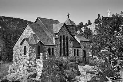 St Malo Chapel On The Rock Colorado Bw Poster by James BO  Insogna