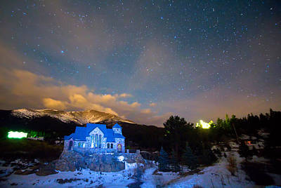 St Malos Chapel On The Rocks Starry Night View  Poster by James BO  Insogna