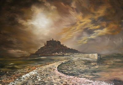 Poster featuring the painting St Michaels Mount Cornwall by Jean Walker