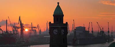 St. Pauli Landing Stages Sunset Poster by Marc Huebner