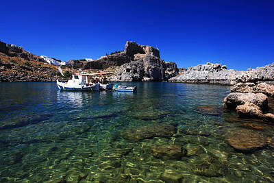 St Pauls Bay Lindos Rhodes Greece Poster by Ollie Taylor