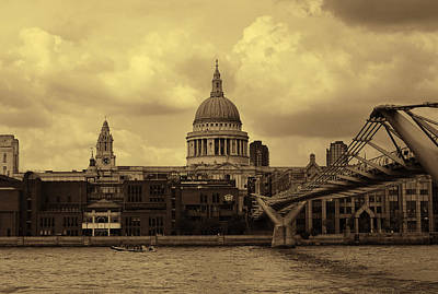 St Paul's Cathedral And Millennium Bridge London Poster by Nicky Jameson
