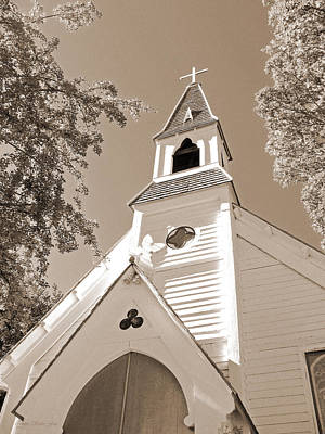 St. Paul's Church Port Townsend In Sepia Poster by Connie Fox