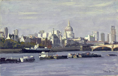 St. Pauls From Bankside Oil On Canvas Poster by Julian Barrow