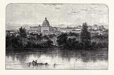 St. Peters And The Vatican From The Tiber Banks Rome Poster by English School