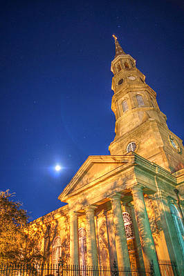 St. Phillip's At Night With Moon And Stars Poster