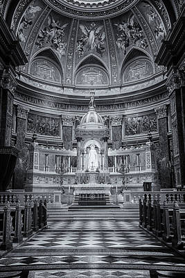 St Stephen's Basilica Interior Budapest Bw Poster by Joan Carroll