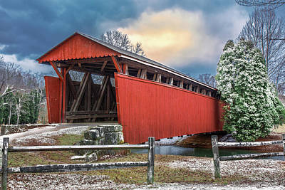 Staats Mill Covered Bridge Poster by Mary Almond