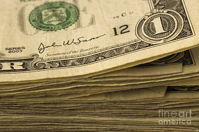 Stack Of American Dollars Poster by Jim Corwin