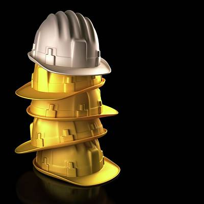Stack Of Hard Hats Poster