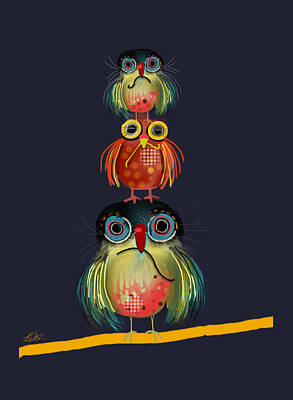 Stack Of Owls Poster by Karin Taylor