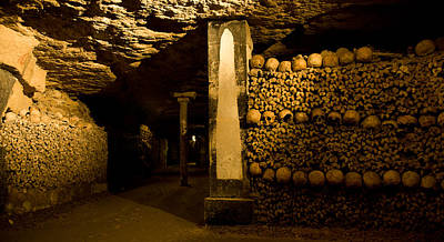 Stacked Bones In Catacombs, Paris Poster by Panoramic Images