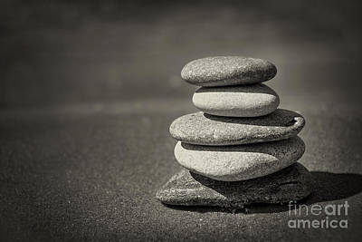 Stacked Pebbles On Beach Poster