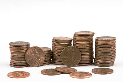 Stacks Of American Pennies White Background Poster by Keith Webber Jr