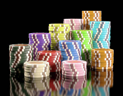 Stacks Of Gambling Chips Poster by Ktsdesign