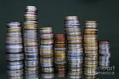 Stacks Of International Coins Poster by Sami Sarkis