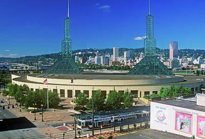Stadium In Skyline Of Portland, Or Poster