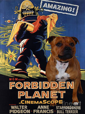 Staffordshire Bull Terrier Art Canvas Print - Forbidden Planet Movie Poster Poster