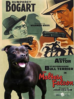 Staffordshire Bull Terrier Art Canvas Print - The Maltese Falcon Movie Poster Poster by Sandra Sij
