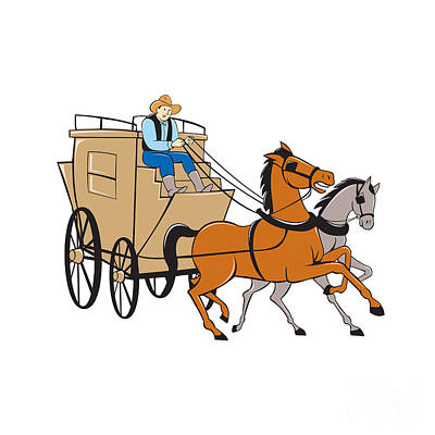 Stagecoach Driver Horse Cartoon Poster by Aloysius Patrimonio