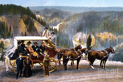 Stagecoach Near Upper Falls Poster by NPS Photo Frank J Haynes