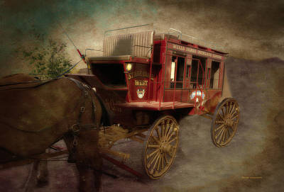 Stagecoach West Sepia Textured Poster by Thomas Woolworth