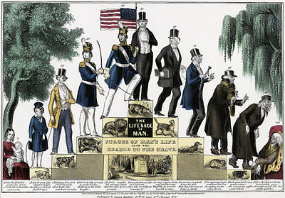 Stages Of A Mans Life  1848 Poster by Daniel Hagerman