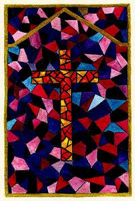 Stained Glass Cross Poster by Michael Vigliotti