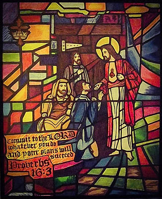 Stained Glass Proverbs 16 Verse 3 Poster by Zech Browning