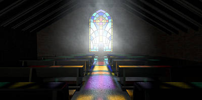 Stained Glass Window Church Poster by Allan Swart