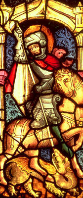 Stained Glass Window Depicting Saint George Poster
