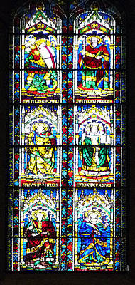 Stained Glass Window Of Santa Maria Del Fiore Church Florence Italy Poster