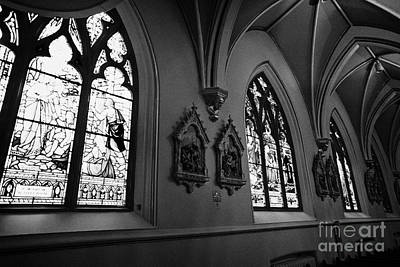 stained glass windows and stations of the cross interior of holy rosary cathedral Vancouver BC Canad Poster by Joe Fox