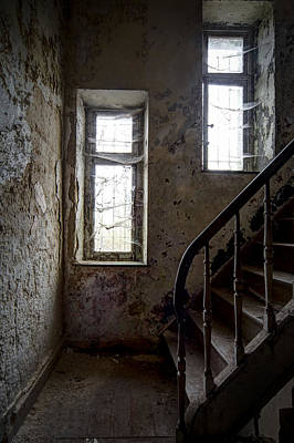 Staircase Spider Web Haunted Spooky Castle Poster by Dirk Ercken