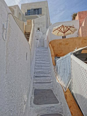 Stairs In Santorini With Parasol Poster