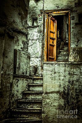 Stairs Leading To The Old Door Poster by Catherine Arnas