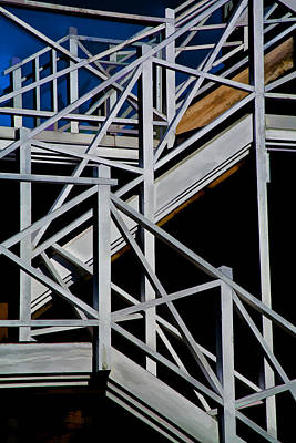 Stairway Abstract At Stanley Park In Vancouver Poster by Randall Nyhof