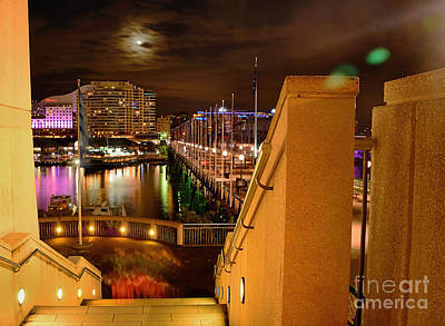 Stairway To Darling Harbour During Vivid Sydney 2014 Poster by Kaye Menner